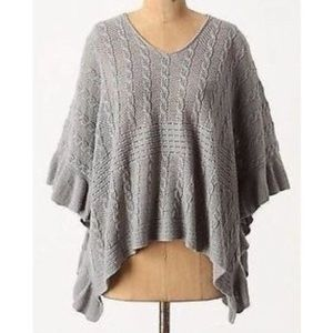 anthropologie M/L moth arched ripple poncho 015